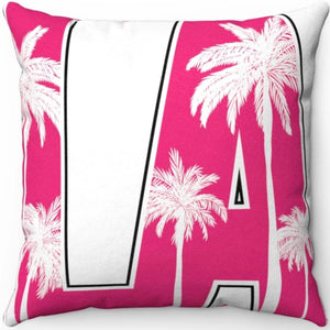 "Pink & White LA 18"" x 18"" Throw Pillow Cover"