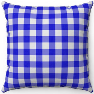 "Blue Plaid 18"" x 18"" Square Throw Pillow"