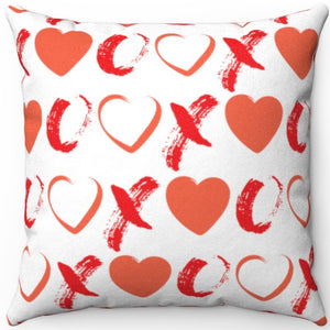 "Hearts, X's & O's Red & White 18"" x 18"" Throw Pillow Cover"