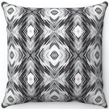 "Load image into Gallery viewer, Blurred Black & White Boho 16"" 18"" Or 20"" Square Throw Pillow Cover"
