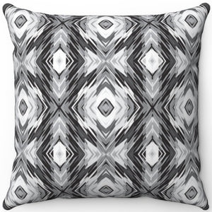 "Blurred Black & White Boho 16"" 18"" Or 20"" Square Throw Pillow Cover"