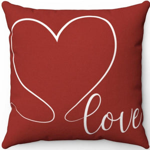 "Love Heart Red & White 18"" x 18"" Throw Pillow Cover"
