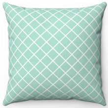 "Load image into Gallery viewer, Cross Pattern In Aquamarine 16"" Or 18"" Square Throw Pillow Cover"