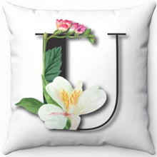 "Load image into Gallery viewer, Floral U Monogrammed 18"" x 18"" Square Throw Pillow"