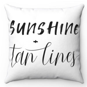 "Sunshine + Tan Lines Black & White 18"" x 18"" Throw Pillow"