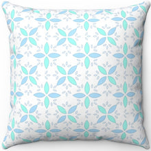 "Load image into Gallery viewer, Pastel Blue & Green Floral Pattern 18"" x 18"" Square Throw Pillow"
