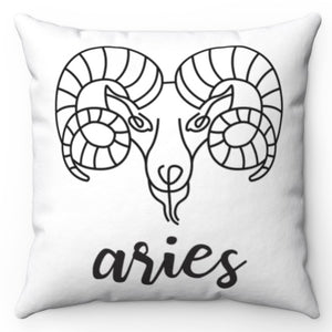 "Aries Black & White Printed Design 16"" x 16"" Square Throw Pillow Cover"