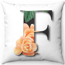 "Load image into Gallery viewer, Floral F Monogrammed 18"" x 18"" Square Throw Pillow"