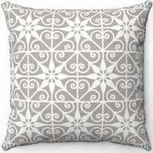 "Load image into Gallery viewer, Delicate Grey & White Filigree Pattern #Three 16"" 18"" Or 20"" Square Throw Pillow Cover"