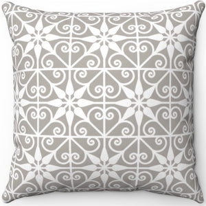"Delicate Grey & White Filigree Pattern #Three 16"" 18"" Or 20"" Square Throw Pillow Cover"