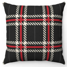 "Load image into Gallery viewer, Red & White Striped Buffalo Plaid 18"" Or 20"" Square Throw Pillow Cover"