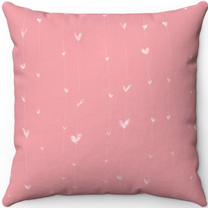 "Delicate Hand Drawn Hearts On A String 16"" 18"" Or 20"" Square Throw Pillow Covers"