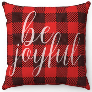 "Be Joyful On Buffalo Plaid 16"" Or 18"" Square Throw Pillow"