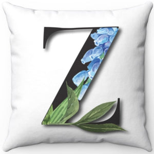 "Floral Z Monogrammed 18"" x 18"" Square Throw Pillow"