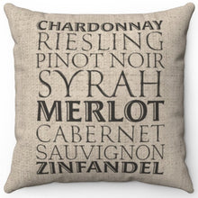 "Load image into Gallery viewer, Sommelier Wine List 16"" Or 18"" Square Throw Pillow Cover"