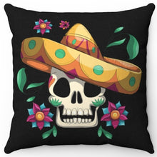 "Load image into Gallery viewer, Dia De Los Muertos Skull 16"" Or 18"" Square Throw Pillow Cover"