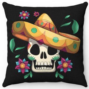"Dia De Los Muertos Skull 16"" Or 18"" Square Throw Pillow Cover"