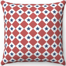 "Load image into Gallery viewer, Patriotic Red White & Blue Checkered 16"" 18"" Or 20"" Square Throw Pillow Cover"