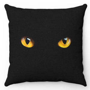 "Intense Yellow Eyed Black Cat 18"" x 18"" Throw Pillow Cover"