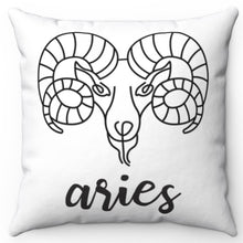 "Load image into Gallery viewer, Aries Black & White Printed Design 16"" x 16"" Square Throw Pillow Cover"