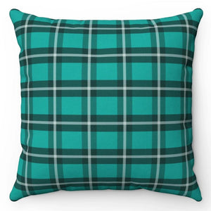 "Green Kilt Patterned 18"" x 18"" Throw Pillow Cover"