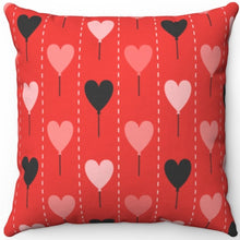 "Load image into Gallery viewer, Valentines Day Heart Balloons 18"" x 18"" Square Throw Pillow"