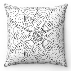 "Seamless Black & White 18"" x 18"" Tribal Throw Pillow"