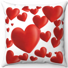 "Load image into Gallery viewer, Hearts A Plenty Red & White 18"" x 18"" Throw Pillow Cover"