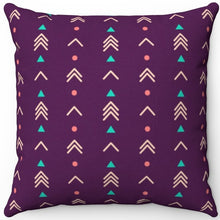 "Load image into Gallery viewer, Purple Abstract Boho Arrows Pattern 16"" 18"" Or 20"" Square Throw Pillow Cover"