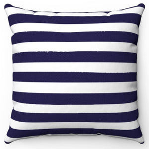 "Darkest Blue Texture Stripes 16"" Or 18"" Square Throw Pillow Cover"