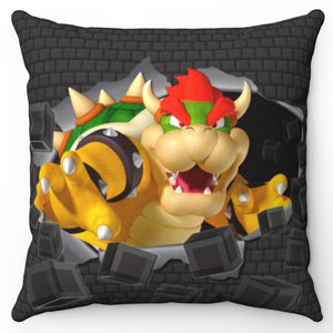 "Bowser Smashing Through Wall 18"" x 18"" Square Throw Pillow"