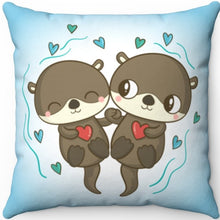"Load image into Gallery viewer, Love Each Otter 16"" Or 18"" Square Throw Pillow"