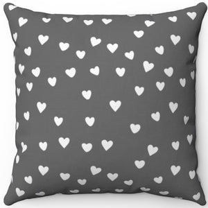 "White Hearts On Grey Minimalist Pattern #Eight 16"" 18"" Or 20"" Square Throw Pillow Cover"