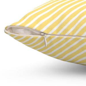 "Diagonal Stripe Pattern In Golden Glow 16"" Or 18"" Square Throw Pillow Cover"
