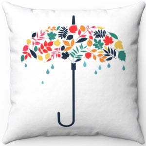 "April Showers Bring May Flowers 18"" x 18"" Square Throw Pillow"