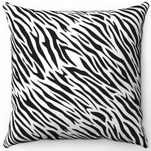"Load image into Gallery viewer, Wild Zebra Print 16"" Or 18"" Square Throw Pillow"