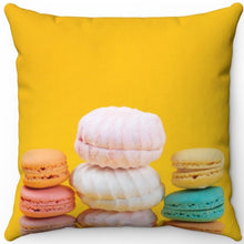 "Load image into Gallery viewer, Assorted Macaroons 16"" Or 18"" Square Throw Pillow"