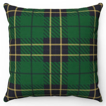 "Load image into Gallery viewer, Green Plaid with Yellow Crosslines 18"" Or 20"" Square Throw Pillow Cover"