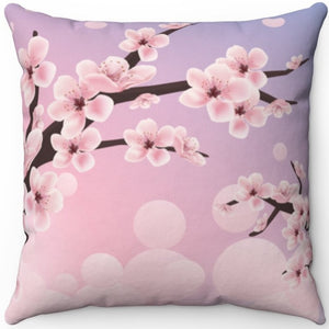 "Spring Cherry Blossoms 16"" 18"" Or 20"" Square Throw Pillow Cover"