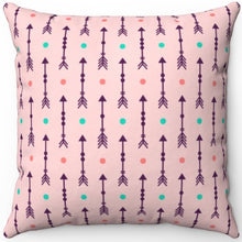 "Load image into Gallery viewer, Pastel Pink Abstract Boho Arrows With Fletching 16"" 18"" Or 20"" Square Throw Pillow Cover"