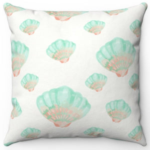 "Watercolor Seashells 18"" Or 20"" Square Throw Pillow Cover"