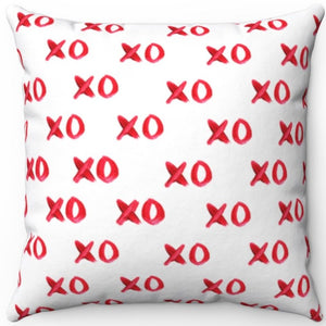 "Red Lipstick X's & O's 18"" x 18"" Square Throw Pillow"
