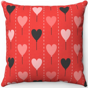 "Valentines Day Heart Balloons 18"" x 18"" Square Throw Pillow"