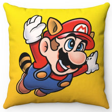 "Load image into Gallery viewer, Super Mario Bros 3 Racoon Mario 18"" x 18"" Square Throw Pillow"