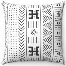 "Load image into Gallery viewer, Mudcloth Patterned Black & White 16"" 18"" Or 20"" Square Throw Pillow Cover"
