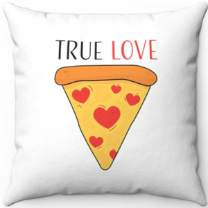 "True Love Pizza Slice 18"" x 18"" Throw Pillow Cover"