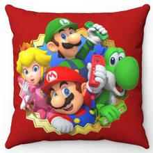 "Load image into Gallery viewer, Nintendo Wii Mario Luigi Princess Peach & Yoshi 18"" x 18"" Square Throw Pillow"