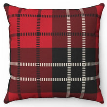 "Load image into Gallery viewer, Red White & Black Buffalo Plaid 18"" Or 20"" Square Throw Pillow Cover"