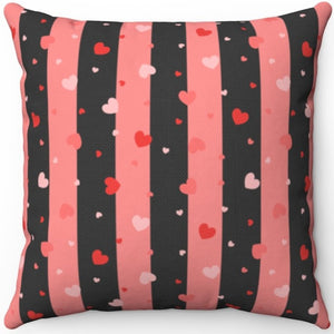 "Valentines Day Hearts & Stripes 18"" x 18"" Square Throw Pillow"