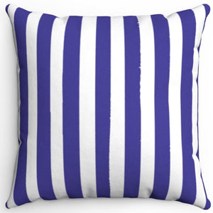 "Blue & White Texture Stripes 16"" Or 18"" Square Throw Pillow Cover"
